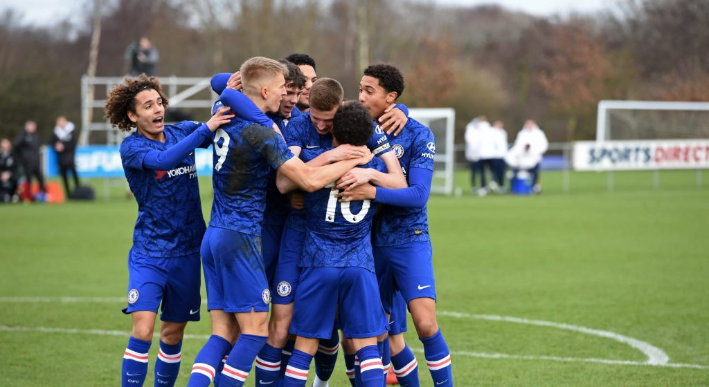 Chelsea U18s celebrating Sam McClelland goal